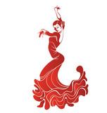Fototapety Young passionate woman dancing flamenco