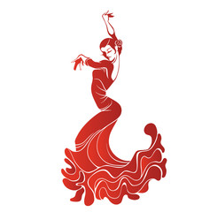 Young passionate woman dancing flamenco