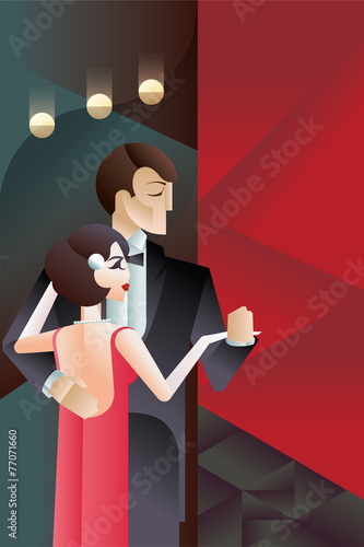 Dancing couple Art Deco geometric style poster - 77071660