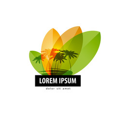 Palm trees logo design template. travel or nature icon.