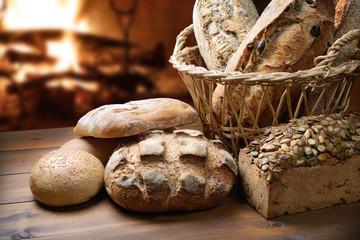 Fresh bread near the fireplace