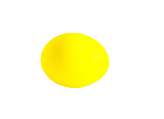 Yellow Easter egg on a white background