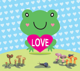valentine card with frog