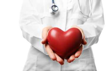 Close-up of doctor hands with heart