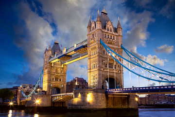 Tower Bridge at dusk, London, United Kingdom