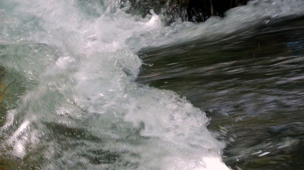 Mad River Torrent Flowing. Sound. Close-up.