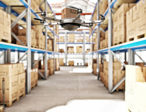 futuristic warehouse - 77075073