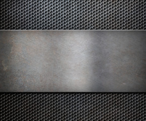metal rusty plate over grid background