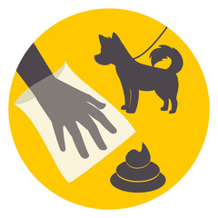 Clean up after your pet, signal, vector illustration