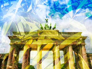 Brandenburger Tor Berlin - Double exposure with bamboo leaves