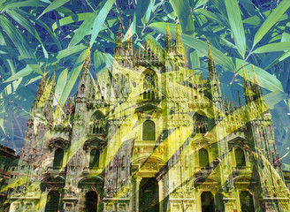 Duomo, Milan - Double exposure with bamboo leaves