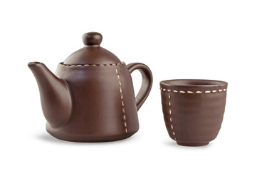 brown teapot and cup