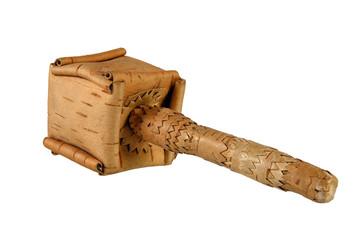 Baby rattle, homemade production of birch bark, Komi, Russia