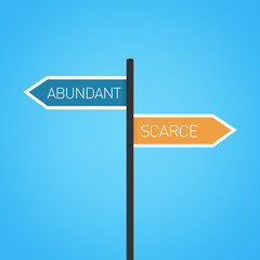 Abundant vs scarce choice road sign