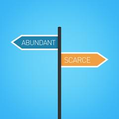 Abundant vs scarce choice road sign