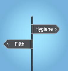 Hygiene vs filth choice road sign