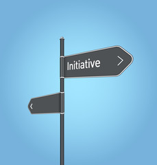Initiative nearby, dark grey road sign