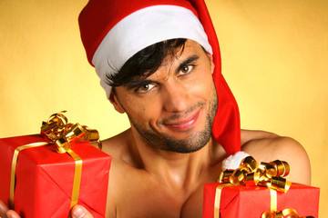Sexy Santa Claus with presents