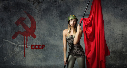 russian wall for model with red flag