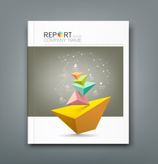 Cover Annual Report triangle connection head and business icons