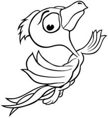 Flying Bird - Outlined Cartoon Illustration