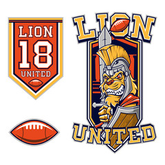 American Football Lion Gladiator Mascot
