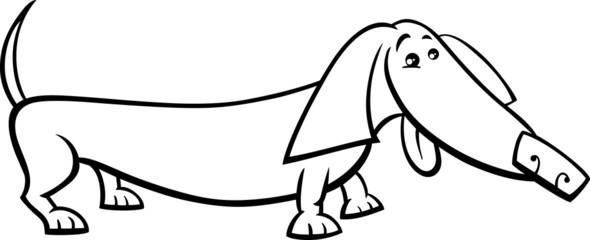 dachshund dog cartoon coloring page