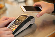 Leinwanddruck Bild - Payment transaction with smartphone