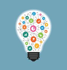 Simple light bulb conceptual icon 1