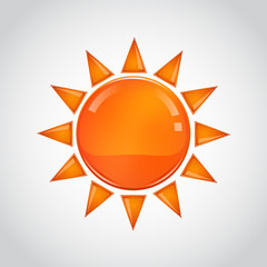 Abstract orange sun on white background