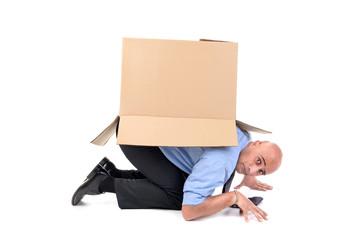 Businessman with box