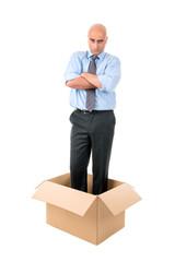 Businessman inside box