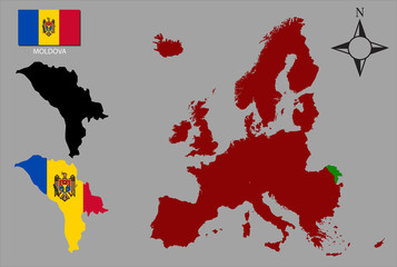 Moldova - Two contours, Map of Europe and flag vector
