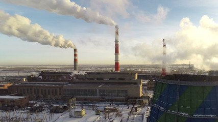 Panorama of a thermal power plant from a great height.
