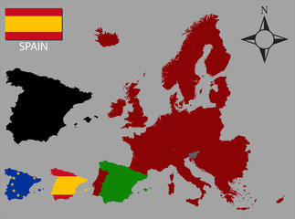 Spain - Three contours, Map of Europe and flag vector