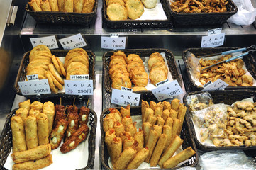 Various Japanese fried snacks