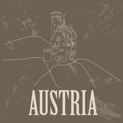 Austria landmarks. Retro styled image