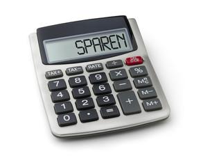Taschenrechner mit dem Wort Sparen im Display