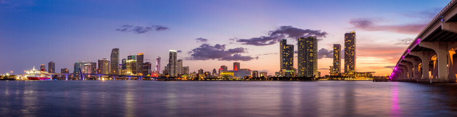 Miami city skyline panorama at twilight