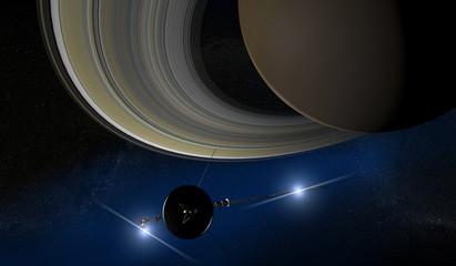 Saturno e sonda voyager, spazio