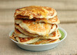 Delicious pancakes with honey, close-up