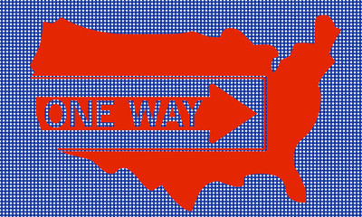 Mappa USA con indicazione senso unico