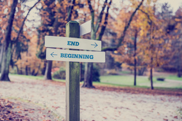 Opposite directions towards End and Beginning