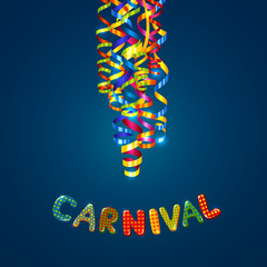 Carnival card with serpentine