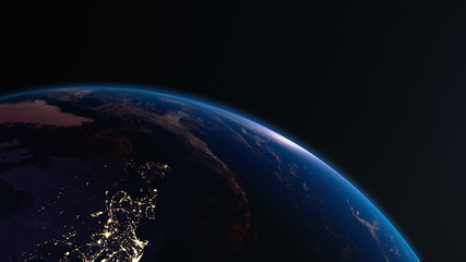Earth view from space with night city lights. North America. 4K.