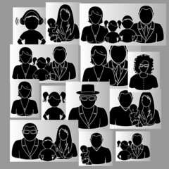 Family photos in black and white on a gray background
