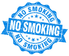 no smoking blue grunge seal isolated on white