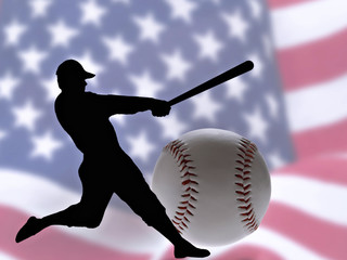 Baseball bat and ball, on a background of American flag