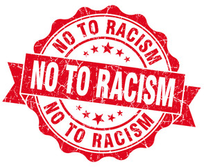no to racism red grunge seal isolated on white