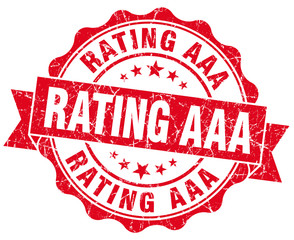 rating aaa red grunge seal isolated on white